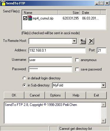 SendTo FTP 2.8. Скачать бесплатно.